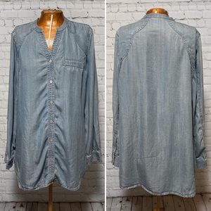 Anthro Soft Surroundings Denim Button Down EUC